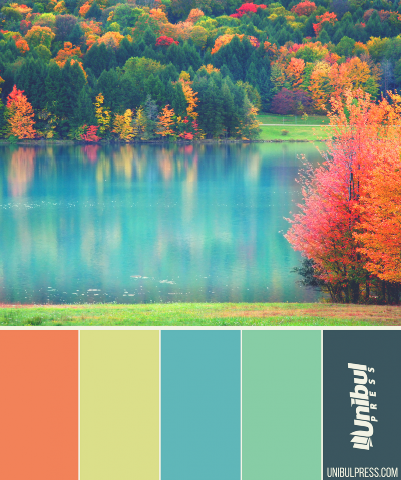 autumn coloring palettes - lake in autumn
