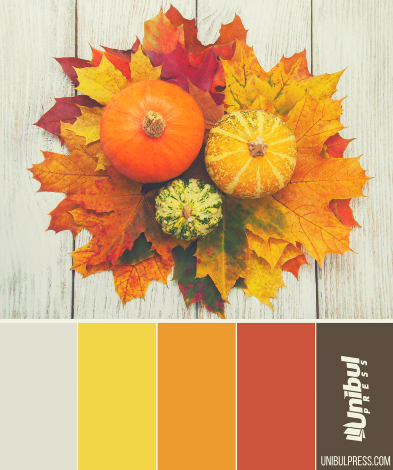 autumn coloring palettes - pumpkins in basket with leaves on grey table